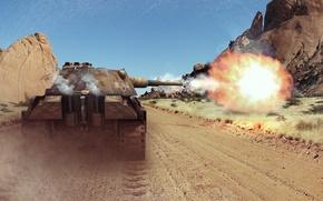 Картинка горы, выстрел, Пантера, танк, танки, WoT, World of Tanks, Wargaming.net, PzKpfw V Panther