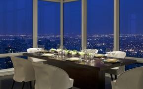 Обои дизайн, город, стиль, интерьер, вечер, ресторан, мегаполис