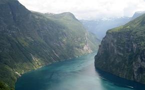 Обои горы, Река, катер