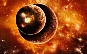 Картинка две, планеты, взрывы, метеориты