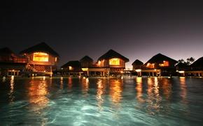 Картинка океан, вечер, отель, бунгало, panorama, island, resort, Tahaa