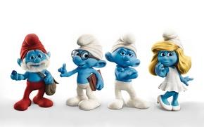 Обои синие, мультяшки, папа, смурфиника, смурфы, смурфики, ворчун, smurfs, белый фон, гномики, знайка, человечки, смурфетта