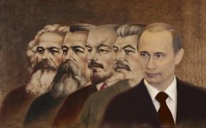 Картинка живопись, Владимир Путин, Карл Маркс, Иосиф Сталин, Владимир Ильич Ленин, Фридрих Энгельс