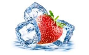 Картинка лед, капельки, berry, клубника, ягода, ice, drops, strawberry