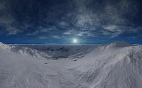 Обои холод, горы, зима, даль, солнце, небо, горизонт