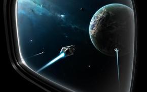 Обои планета, ночь, Иллюминатор, звёзды