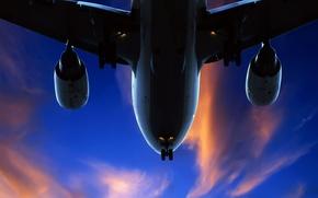 Картинка небо, облака, самолет, 157
