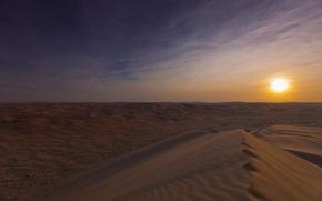 Картинка солнце, пустыня, утро, дюны