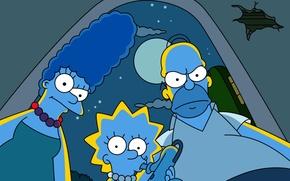 Картинка ночь, симпсоны, simpsons, гомер, мультсериал, мардж, лиза