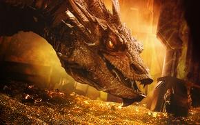 Обои дракон, Хоббит: Пустошь Смауга, золото, The Hobbit: The Desolation of Smaug, Smaug