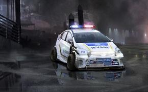 Картинка мокро, авто, туман, тюнинг, рисунок, полиция, лужа, toyota, police, hybrid, тойота, ukraine, paint, cop, cops, ...