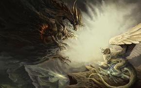 Картинка дракон, чудовище, схватка, Peril of Guarding . by Alector Fencer
