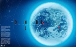 Обои обработка, синий, Планета