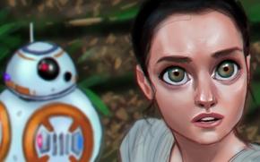 Обои глаза, взгляд, девушка, робот, Star Wars, art, Episode VII, Звёздные войны: Пробуждение силы, Star Wars: ...