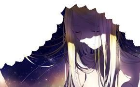 Картинка небо, девушка, звезды, аниме, арт, штора, sogawa66