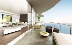 Обои комната, диван, стиль, картина, минимализм, дизайн, интерьер, вид, белое, океан, высота, простор