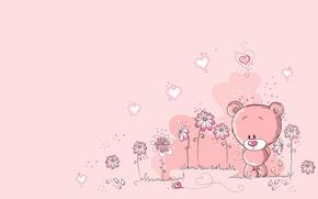 Обои цветы, арт, сердце, улитка, лето, мишка