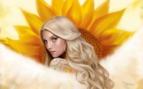 Картинка девушка, крылья, подсолнух, ангел, тату