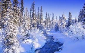 Картинка зима, снег, синий, река