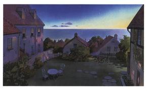 Картинка море, стол, забор, стулья, дома, вечер, кусты, art, дворик, ведьмина служба доставки, hayao miyazaki, kiki`s …