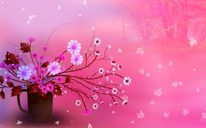 Обои листья, цветы, букет, текстура, натюрморт