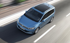 Картинка голубой, Volkswagen, шоссе, Тень, Фольксваген, минивэн, MPV, unveiled, Touran