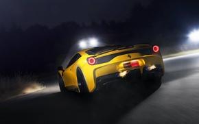 Картинка дорога, жёлтый, огонь, скорость, ferrari, феррари, yellow, задок, выхлопные трубы, 458 speciale