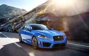 Картинка Jaguar, Авто, Синий, Машина, Ягуар, Седан, Блик, Передок, XFR-S