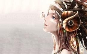 Картинка девушка, бабочка, рога, профиль, art, bouno satoshi