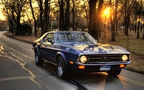 Картинка машина, закат, скорость, ford mustang