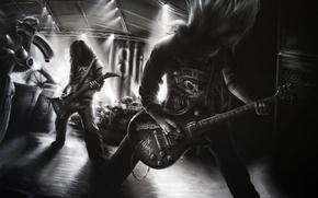 Обои музыка, рисунок, гитары, черно белое, группы
