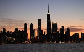 Картинка огни, здания, небоскребы, вечер, америка, чикаго, Chicago, сша, высотки