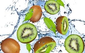 Картинка вода, капли, брызги, свежесть, green, киви, фрукт, зелёный, Kiwi, water, fruit, drops, spray