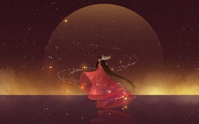 Картинка девушка, звезды, магия, крылья, аниме, арт, hanyijie