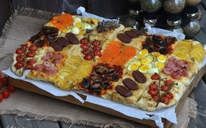 Картинка яйца, помидоры, колбаса, выпечка, специи, ассорти, ветчина, фокача, начинки