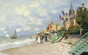 Картинка пейзаж, картина, Клод Моне, Пляж в Трувиле