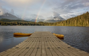 Картинка rainbow, lake, pier, dock