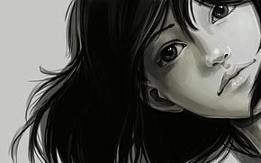 Картинка девушка, лицо, волосы, арт, черно-белое, монохромное