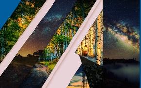 Картинка трава, космос, деревья, полосы, Природа, минимализм, березы