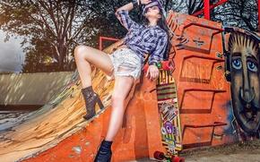 Картинка стиль, ноги, шорты, скейтборд, рампа, Thais Silva