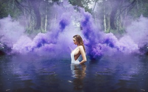 Обои rain, pond, smoke, purple, girl