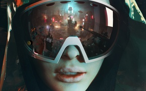 Обои отражение, капюшон, революция, город, девушка, очки, Homefront: The Revolution, автомат
