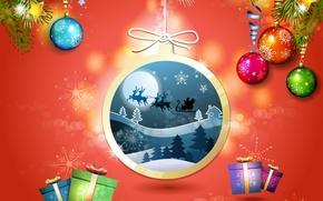 Картинка лес, снежинки, подарки, дед мороз, олени, ёлки, ёлочные украшения, новогодняя ночь