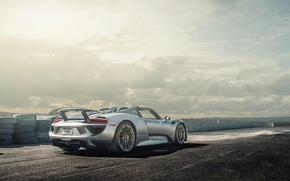 Картинка Porsche, Spyder, 918, View, Silver, Wheels, Spoiler, Rear
