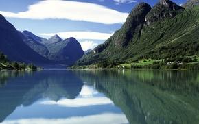 Обои Вода, Горы, Норвегия