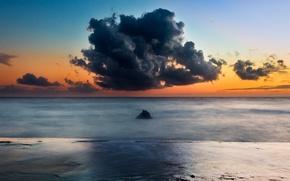 Картинка пляж, небо, облака, оранжевый, скалы, вечер, Италия, rock, beach, sky, Italy, clouds, evening, orange, Lazio, …