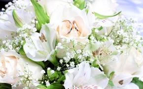 Картинка цветы, букет, кольца, flowers, bouquet, rings
