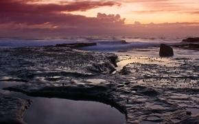 Обои вода, волны, Камни, вечер, облака