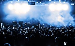 Обои дым, аплодисменты, толпа, Концерт, сцена, темнота, публика