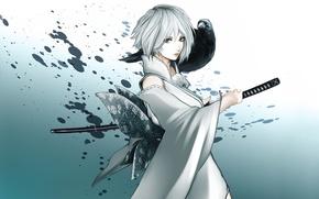 Картинка взгляд, девушка, меч, аниме, арт, ворон
